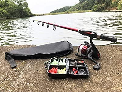 SupsShop Kids Fishing Rod and Reel Combo Full Kit, 1.3M/4.3FT Telescopic Fishing Rod with Spinning Reel Fishing Lure Kit for Kids Youth Beginner Travel Freshwater Bass Trout Fishing