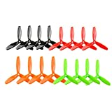 Soulload 5045 3-Blades 5x4.5x3 Propellers. 16 Pieces (8CW, 8CCW) Black & Red & Orange & Green 5-inch Tri Blades Quadcopter & Multirotor Props