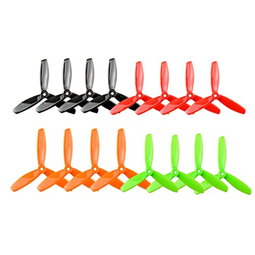 Soulload 5045 3-Blades 5x4.5x3 Propellers. 16 Pieces (8CW, 8CCW) Black & Red & Orange & Green 5-inch Tri Blades Quadcopter & Multirotor Props by Soulload