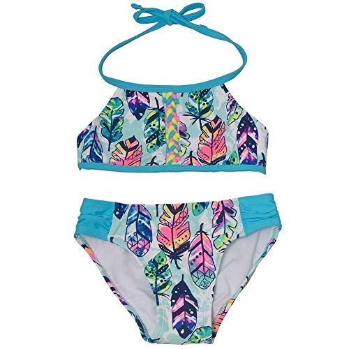 Breaking Waves Big Girls Turquoise Feather Print Halter Top 2 Pc Swimsuit 12