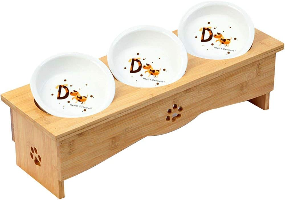 Creation Core Solid Bamboo Elevated Pet Dinner Feeder for Small Dogs and Cats Raised Stand with Two Ceramic Bowls