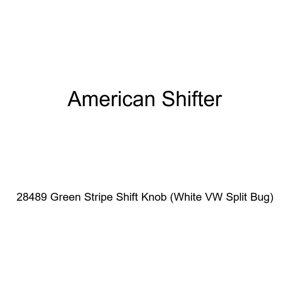 White VW Split Bug American Shifter 28489 Green Stripe Shift Knob