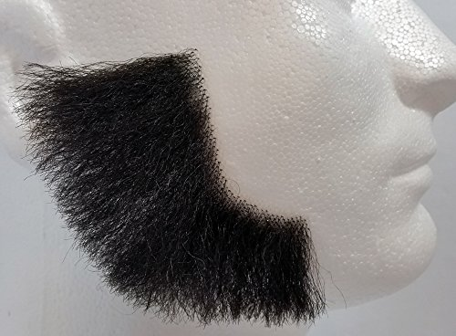 Theatrical Beards (Sideburns BLACK - 100% Human Hair - REALISTIC! Perfect for Theater - no. 2019 - Reusable!)
