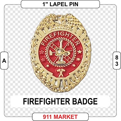 911 Market Firefighter Badge Gold Lapel Pin Badge Fireman Fire Department Service - A -