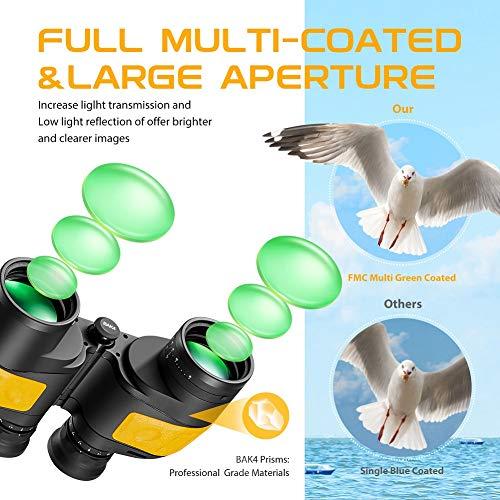 Hooway 7×50 Waterproof Fogproof Marine Binoculars w/Internal Rangefinder & Compass for Navigation,Boating,Fishing,Water Sports,Hunting and More
