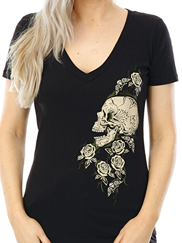 Camiseta mujer Lucky 13 Skull Rose V-Neck Negro