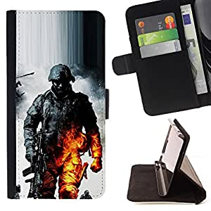 DEVIL CASE - FOR Samsung Galaxy S4 IV I9500 - Soldier Bttlefield - Style PU Leather Case Wallet Flip Stand Flap Closure Cover