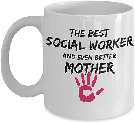 Super Mom Social Worker Mug Novelty 15oz White Ceramic Coffee Tea Cup Gift Idea