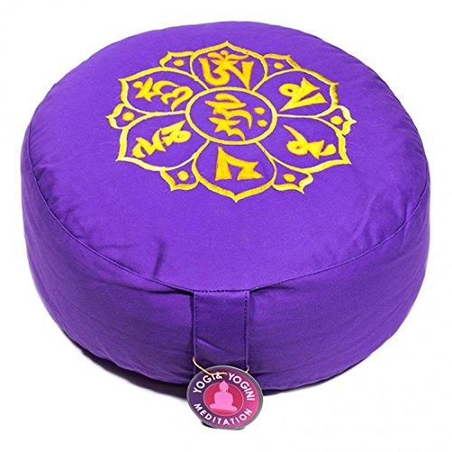 Yogabox Meditationskissen Gl/ückssitz OM MANI PAD ME HUM violett