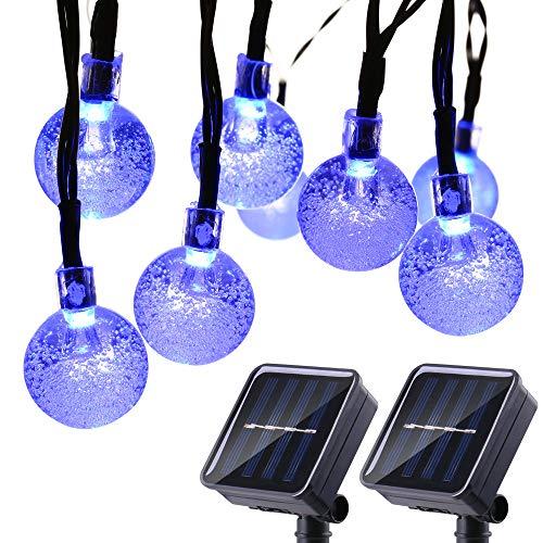 Joomer 2 Pack Globe Solar String Lights, 20ft 30 LED Solar Globe Lights,Waterproof 8 Modes Crystal Ball Lighting for Patio, Lawn, Garden, Wedding, Party, Christmas Decorations (Blue)