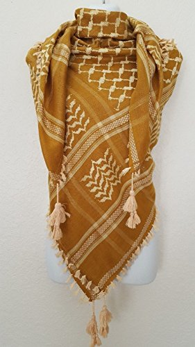 Tan Gold Flare (SL Gold Mustard Tan Unisex Shemagh Head Scarf Neck Wrap Cottton Yellow Cover GDY)