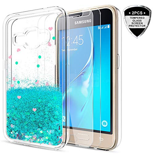Galaxy J1 Case (2016) Case,Galaxy Luna/Express 3 / Amp 2 Case with Tempered Glass Screen Protector [2 Pack] for Girls,LeYi Glitter Liquid Protective Phone Case for Samsung J1 2016 ZX Turquoise
