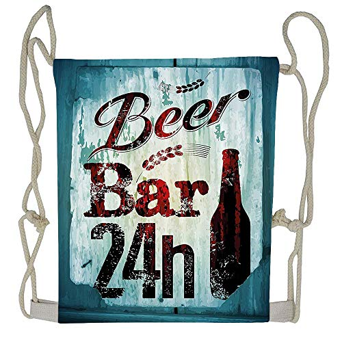WATINCFlagHomegg Grunge Beer Bar 24h Figure Old Pub Sign Emblem Restaurant Graphic Design Drawstring Bag Sport Gym Backpack Gym Bag For Men And Women
