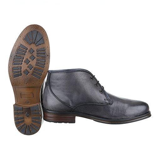 Stiefeletten Herren Leder Schuhe Chelsea Boots Blockabsatz Schnürer Schnürsenkel Ital-Design Boots Dunkelgrau