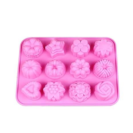 Morza 12 Rejilla de la Rosa Flor en Forma de corazón de la Galleta de Chocolate