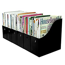 Evelots 6 File Holders with Adhesive Labels, Black