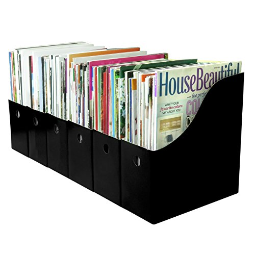 Evelots 12 Magazine/File Holders & Labels, Assorted Colors, Black
