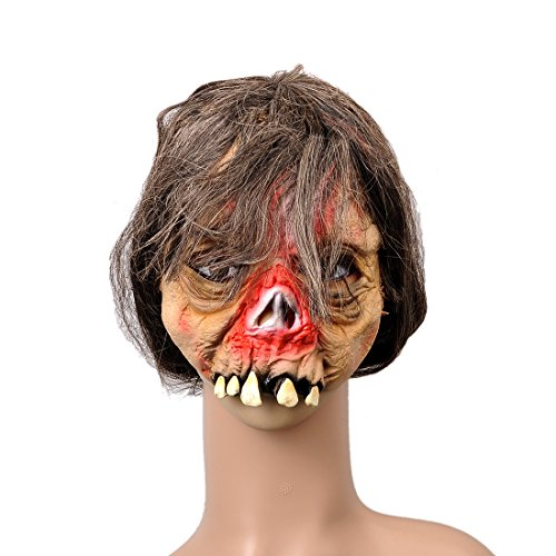 YUFENG Halloween Latex Bucktooth Mask Scary Creepy Mask Masquerade Costume Decoration Halloween Party Favors (Lunatic Terrorist (2)