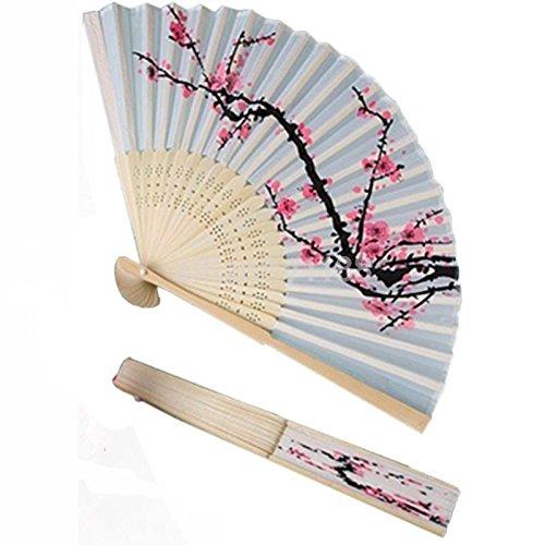 Agordo Premium Cherry Blossom Hand Silk Folding Fan Wedding Party Favors Elegant (Womens Premium Hibiscus Antique)