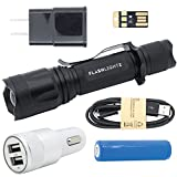FlashlightZ BEACON 1000 Lumen Ultra Bright Rechargeable LED Tactical Flashlight SUPER BUNDLE with Adjustable Focus, Rechargeable Lithium Battery, Charge Cord, USB Car + Wall Adapter, and USB Light