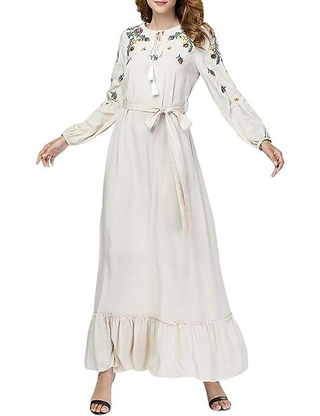 Zhhlinyuan Algodón Musulmanes Turco Arábica Noche Vestido Batas Mujer Vestir - Islámico Túnica Dubai Casual Diario Vestir: Amazon.es: Ropa y accesorios