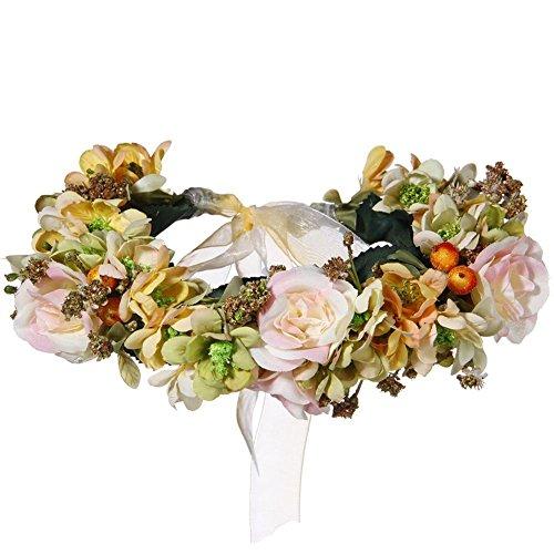 ACTLATI Women Floral Flower Wreath Headband Boho Sweet Wedding Party Hair Garland Yellow by ACTLATI