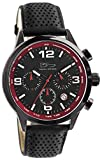 Daniel Steiger Adelante Chronograph Engine Red Luxury Men's Watch - 100M Water Resistant, Textured Leather Strap, Date & 24Hour Dials, Tachymeter, Luminous Hands And Indices