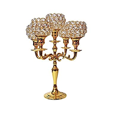 Crystal Gold 5 Arm Candelabra Votive Candle Holders Wedding Centrepieces 35CM