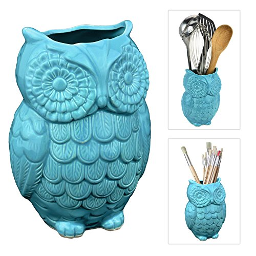 MyGift 7-Inch Cyan Blue Ceramic Owl Kitchen Utensil Crock, Decorative Storage Vase