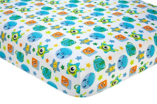Disney Monsters On The Go Fitted Crib Sheet, Blue/Green/Orange/Yellow -