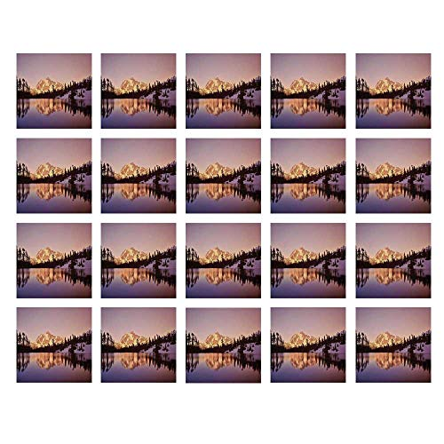 YOLIYANA Lake House Decor Waterproof Ceramic Tile Stickers,Snow Capped Mt Shuksan and Lake at Sunset Evening View National Forest Washington for Kitchen Living Room,One Size