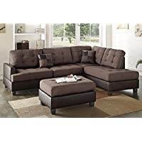 3Pcs Modern Chocolate Linen-Like Fabric Reversible Sectional Sofa Chaise Ottoman Set with 2 Accent Pillows