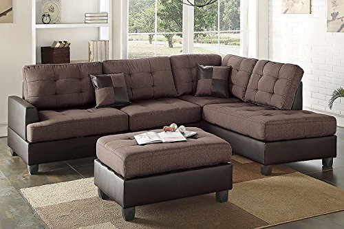 3Pcs Modern Chocolate Linen-Like Fabric Reversible Sectional Sofa Chaise Ottoman Set with 2 Accent Pillows by Advanced Furniture