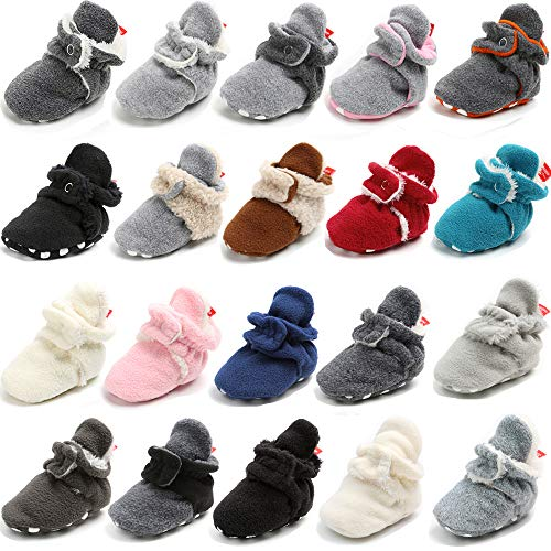 Sawimlgy Newborn Baby Boys Girls Cozy Fleece Booties Stay On Slippers Socks Infant Soft Soles Grippers Non-Skid Crib Shoe First Birthday Gift