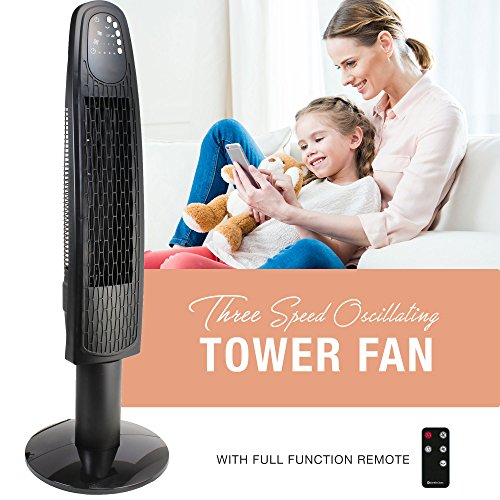 Oscillating 36 Inch 3 Speed Tower Fan with Remote, 4 Hour Timer with Sleep Mode by HowPlumb