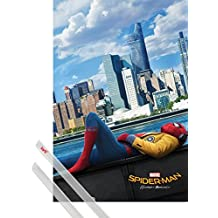 Poster + Hanger: Spiderman Poster (36x24 inches) Homecoming, Teaser And 1 Set Of Transparent 1art1® Poster Hangers