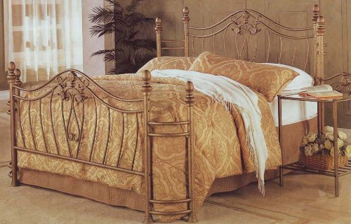 Amazon.com: Gold Finish Iron Queen Size Bed Metal Frame Bedroom: Kitchen &  Dining