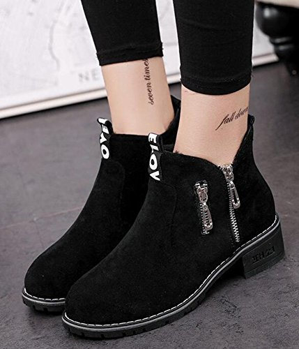Boots Womens Mid Zipper Ankle Wedge Heels Black Short Motor IDIFU Suede Side Casual Faux 7qdEqAZw