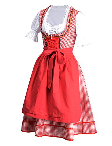 BellyLady Women's 3 Pcs Dirndl Serving Wench Bavarian Beer Oktoberfest Costume Red XL (Little Red Riding Hood Cosplay)
