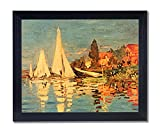 Solid Wood Black Framed Claude Monet French Sailboat Ocean Beach Landscape Pictures Art Print