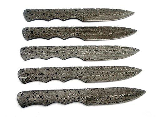 BB-0034 Custom Handmade Damascus Knife-Beautiful Lot of 05 Damascus Steel Blank Blades