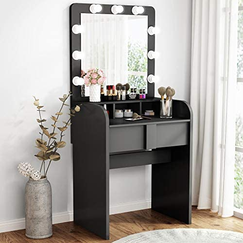 Tribesigns Vanity Table Set with Lighted Mirror, Makeup Vanity Dressing Table with 9 Cool Light Bulb, Modern Dressing Table Dresser Desk with Drawers for Bedroom, Stool not Included Black