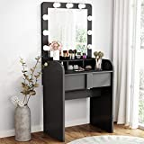 Tribesigns Vanity Table Set with Lighted Mirror, Makeup Vanity Dressing Table with 9 Cool Light Bulb, Modern Dressing Table Dresser Desk with Drawers for Bedroom, (Stool not Included) (Black)