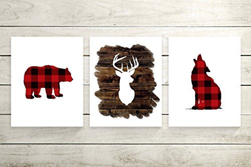 Set of 3 Woodland Animal Nursery Cardstock Prints - 8.5 x11'' Buffalo Plaid Bear Silhouette, Buffalo Plaid Wolf Silhouette, Wood Deer Silhouette by June & Lucy