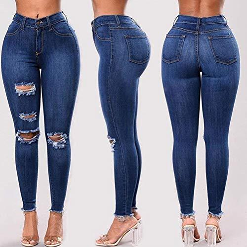 Pantalo Trous Style Pantalon En Blue 1 Denim Basic Chern Jeans Fashion Pantalons Stretch Hx 0nPkwX8O
