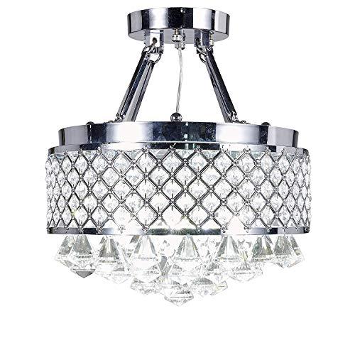 Top Lighting 4-Light Chrome Finish Round Metal Shade Crystal Chandelier Semi-Flush Mount Ceiling Fixture
