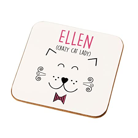 personalised crazy cat lady drinks coaster birthday gifts for cat lovers christmas gift ideas