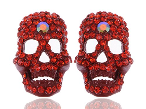 Alilang Amazing Fire Scarlet Neon Red Crystal Rhinestone Skeleton Bone Stud Earrings (Neon Skull And Crossbones)