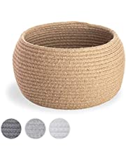 Small Cotton Rope Basket - Round Coiled Rope Storage Bin   Dog Toy Storage Containers   Hand Towel Bathroom Organizing   Woven Planter Basket   Baby Mini Laundry Basket   Empty Gift Baskets