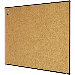 "Lockways Bulletin Cork Board - 4 x 3 Notice Message Board 36 x 48 - Black Aluminium Frame U12118782709 for Home, School & Office (Set Including 10 Push Pins)(48""x36"", Black)"